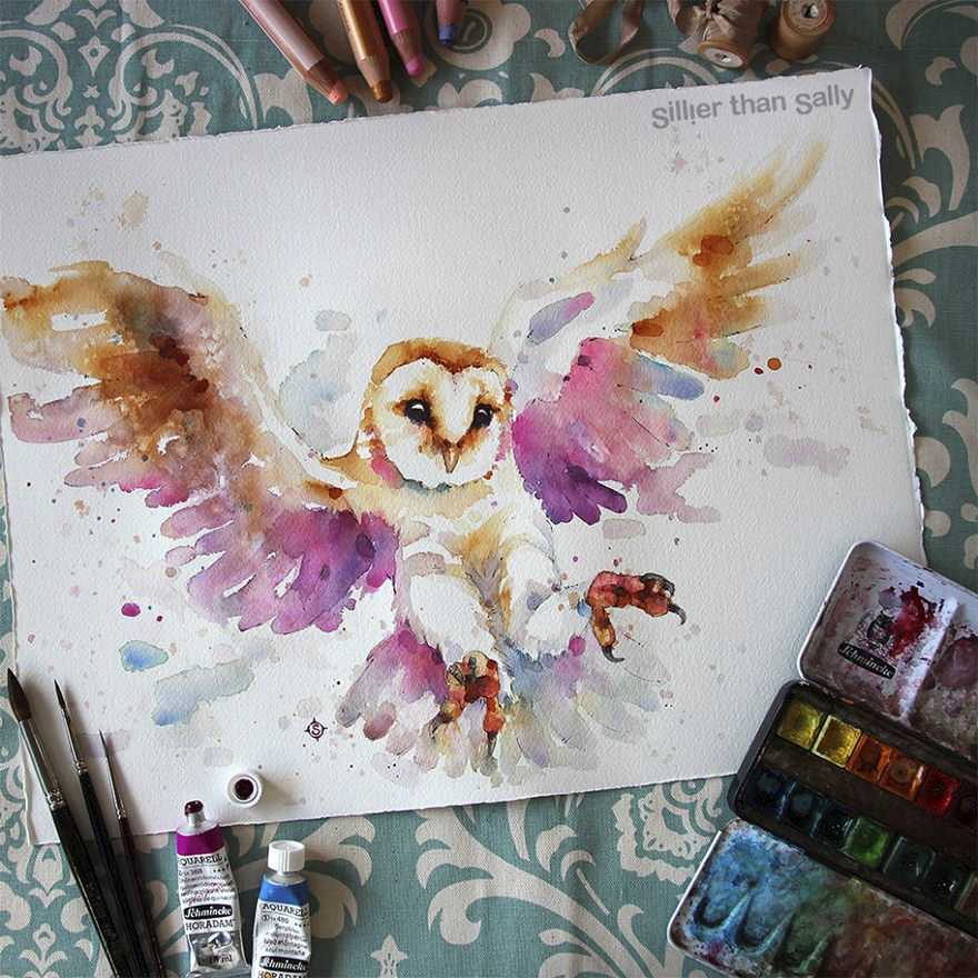 watercolor paintings sillier than sally designs 10