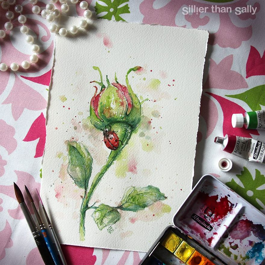 watercolor paintings sillier than sally designs 11
