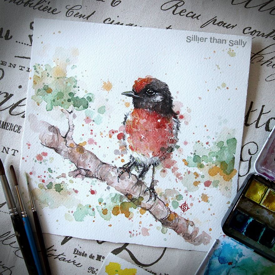 watercolor paintings sillier than sally designs 14