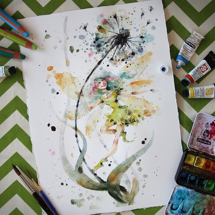 watercolor paintings sillier than sally designs 16