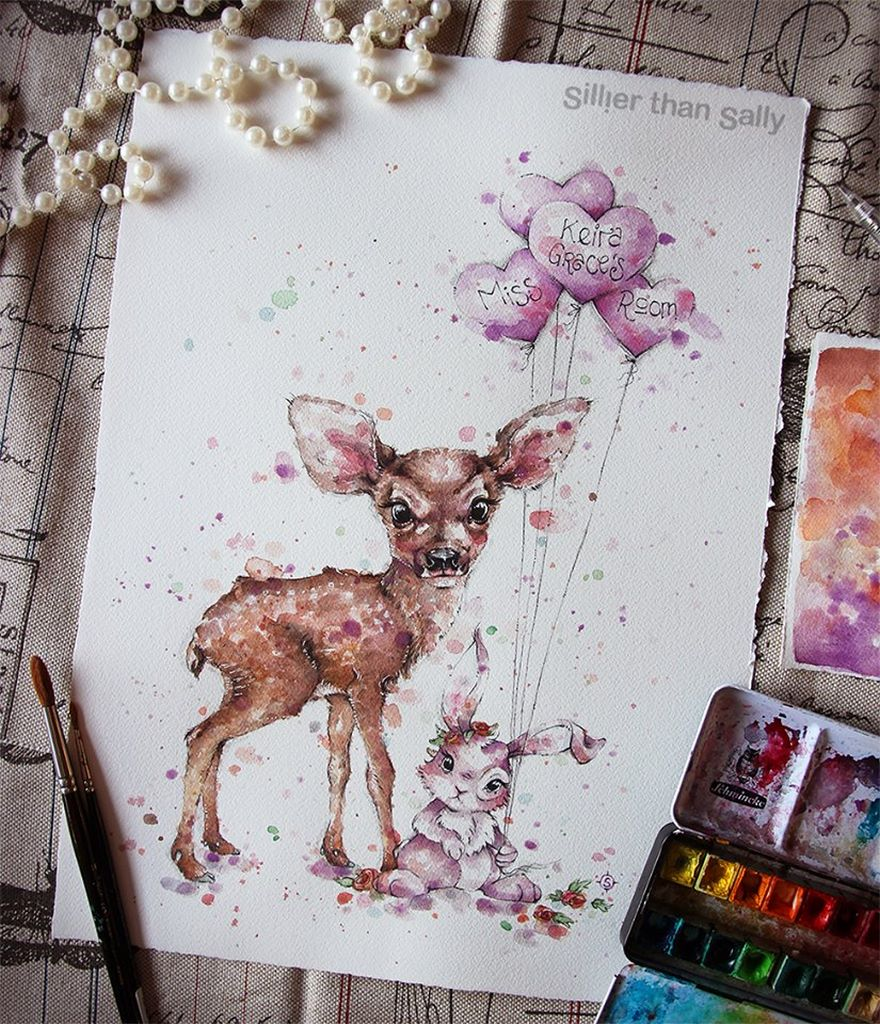 watercolor paintings sillier than sally designs 19