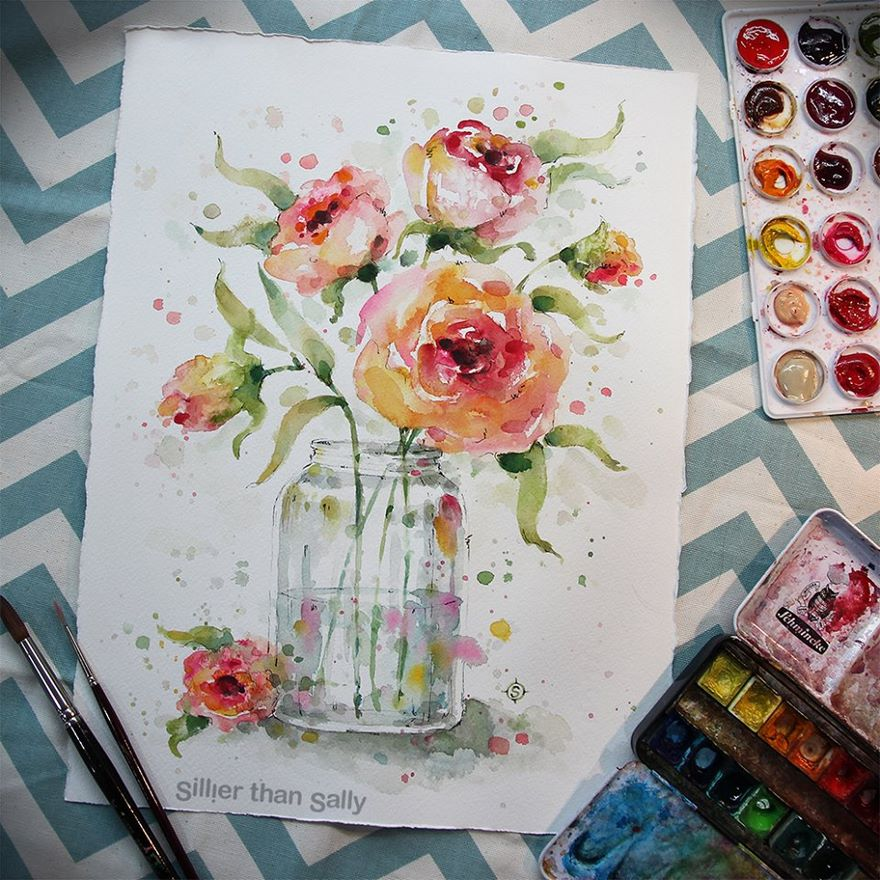 watercolor paintings sillier than sally designs 21