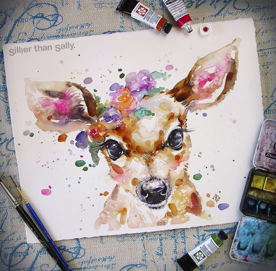 watercolor paintings sillier than sally designs 25