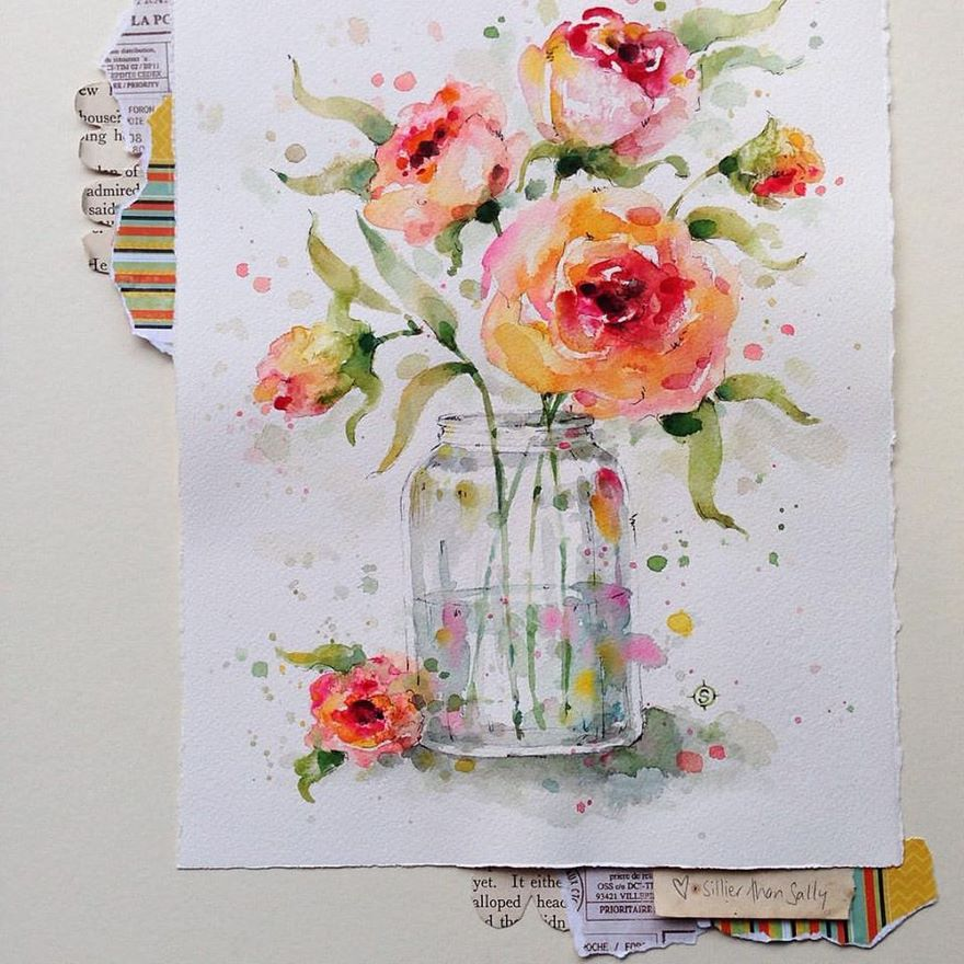 watercolor paintings sillier than sally designs 8