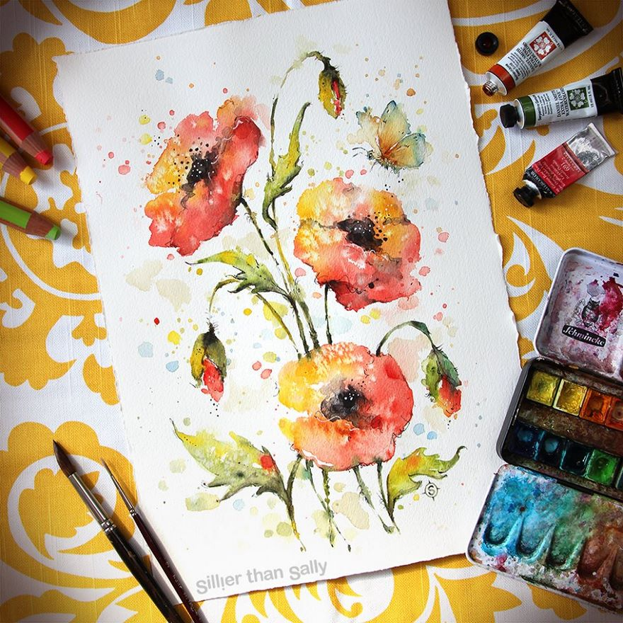 watercolor paintings sillier than sally designs 9