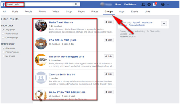 search inquiries on Facebook